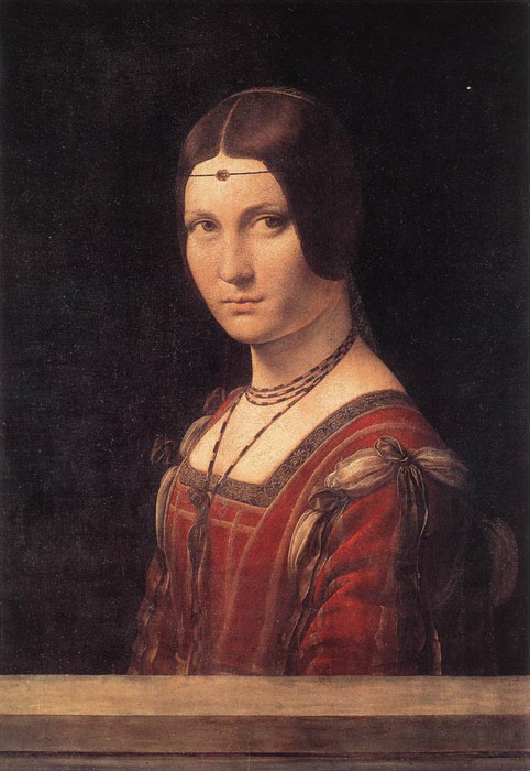 Lady from the Court of Milan, La Belle Ferronniere, c.1490  Painting Reproductions