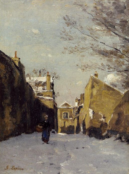 Street in Montmartre, Snow Effect, 1878  Painting Reproductions