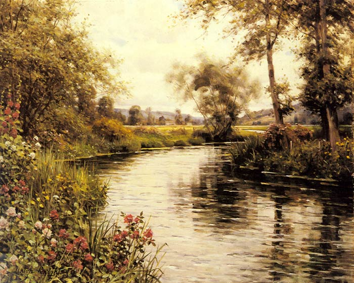 Flowers in Bloom by a River  Painting Reproductions