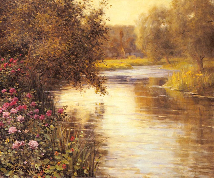 Spring Blossoms along a Meandering River  Painting Reproductions