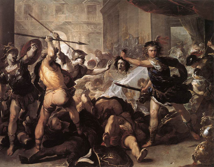 Perseus Fighting Phineus and his Companions, 1670  Painting Reproductions