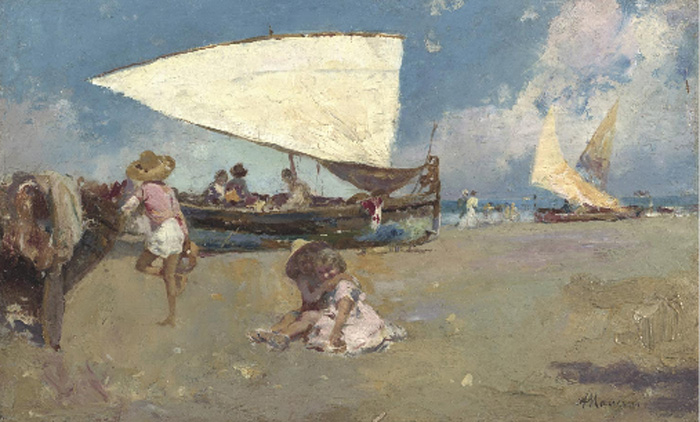 Children on a Sunny Beach, 1880  Painting Reproductions