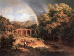 Marko, Karoly the Elder Italian Landscape with Viaduct and Rainbow, 1838 Art Reproductions
