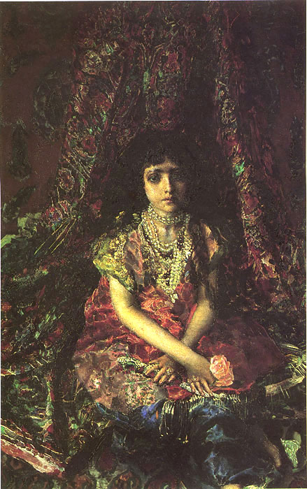 Portrait of a Girl Against a Persian Carpet, 1886  Painting Reproductions