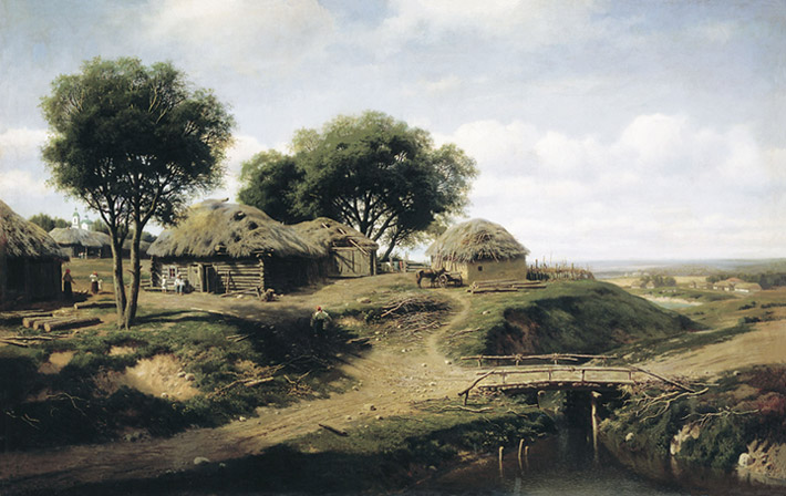 A Viilage in the Province, 1864  Painting Reproductions