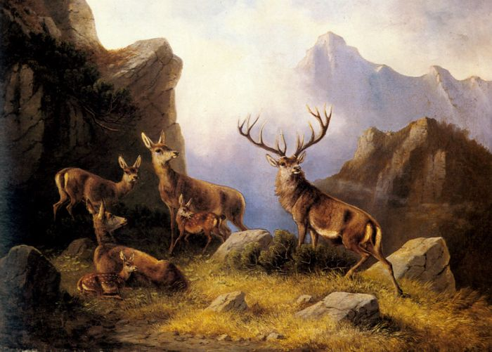 Deer in a Mountainous Landscape  Painting Reproductions