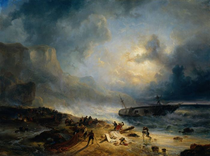 Shipwreck on a Rocky Coast, 1837  Painting Reproductions