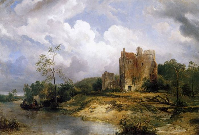 River Landscape with Ruins, 1838  Painting Reproductions