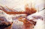 Monsted, Peder Mork A Mountain Torrent In A Winter Landscape Art Reproductions