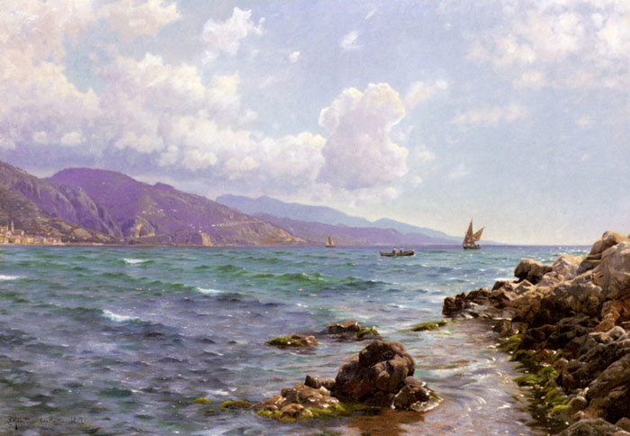 Fishing Boats on the Water, Cap Martin, 1907 Monsted, Peder Mork Painting Reproductions