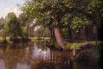 Monsted, Peder Mork Flodbred [On the River], 1914 Art Reproductions