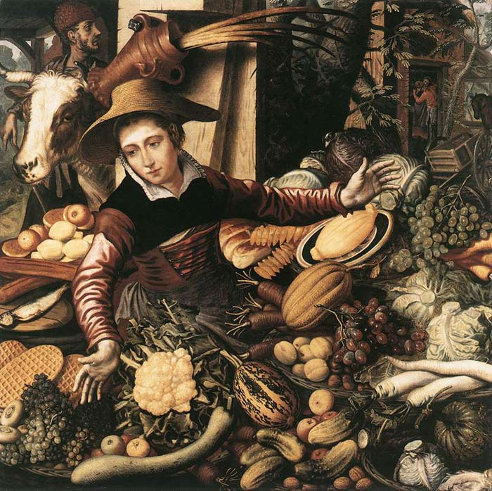 Market Woman with Vegetable Stall, 1567  Painting Reproductions
