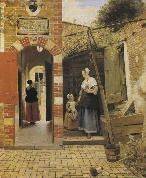 The Courtyard of a House in Delft, 1658  Painting Reproductions