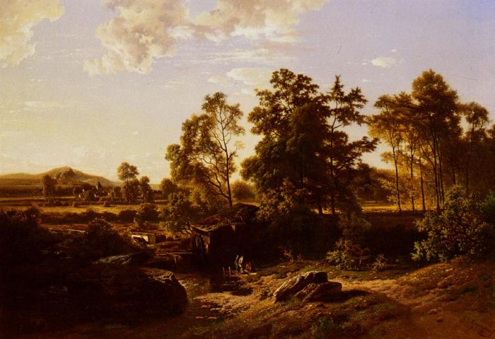 A River Landscape With A Mill, 1855  Painting Reproductions