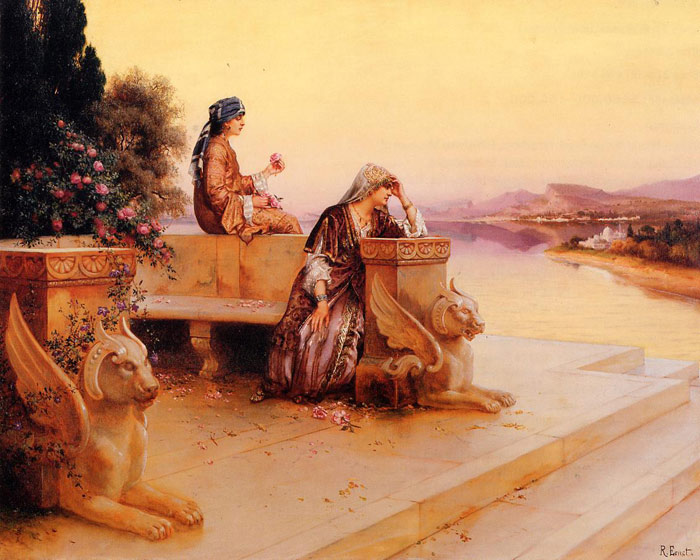 Elegant Arab Ladies on a Terrace at Sunset  Painting Reproductions