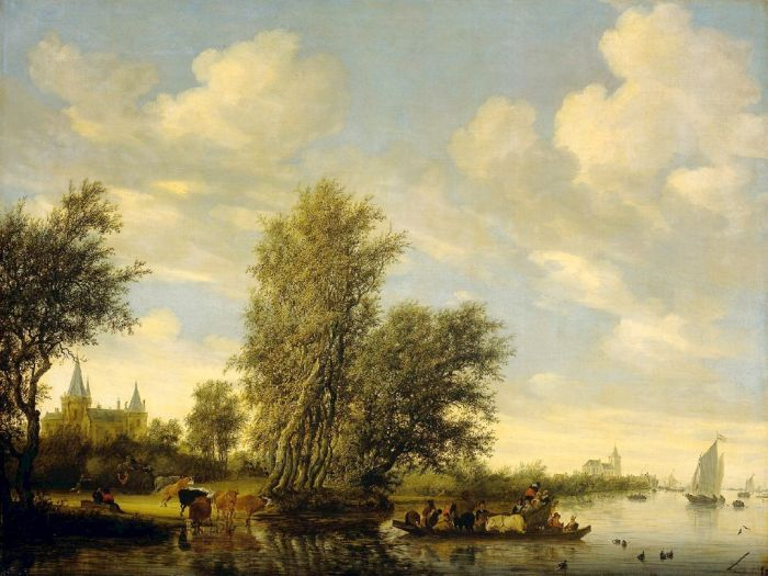 River Scene with Ferry , 1649 Ruysdael, Salomon van Painting Reproductions