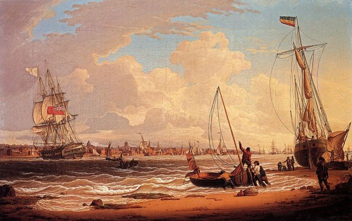 An English Vessel Off The Liverpool Waterfront On The River Mersey, 1810  Painting Reproductions