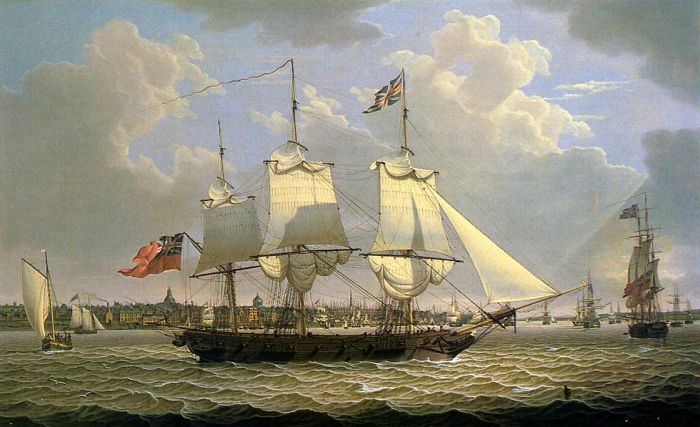 A Mail Packet with Other Shipping off Liverpool, 1809  Painting Reproductions