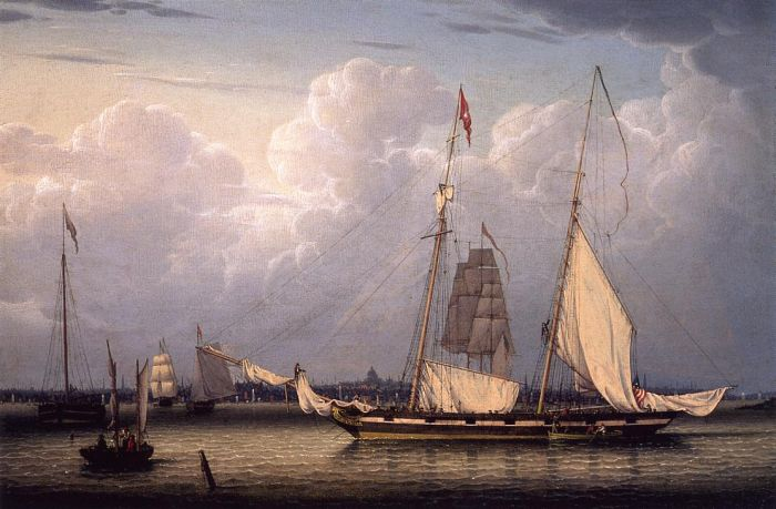 A Schooner with a View of Boston, 1832  Painting Reproductions