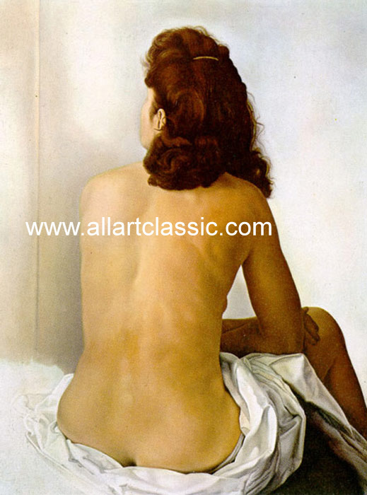 Gala Nude From Behind Looking in an Invisible Mirror, 1960 Dali, Salvador Painting Reproductions