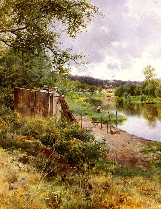 On The River Bank, 1885  Painting Reproductions