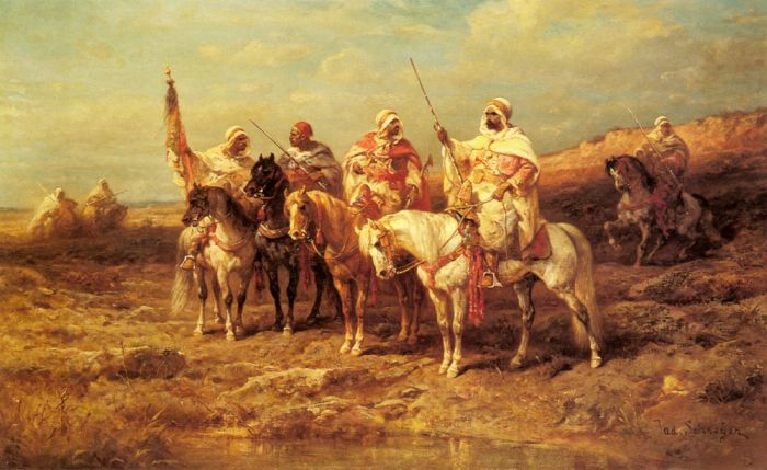 Arab Horsemen by a Watering Hole  Painting Reproductions