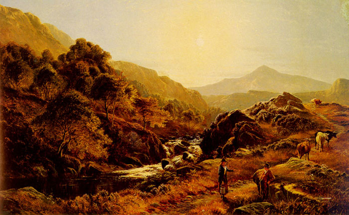Figures On A Path By A Rocky Stream  Painting Reproductions