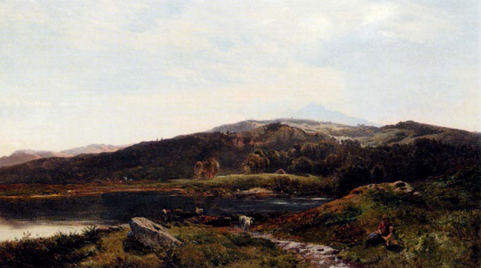 Llyn-y-Ddinas, North Wales, 1858  Painting Reproductions