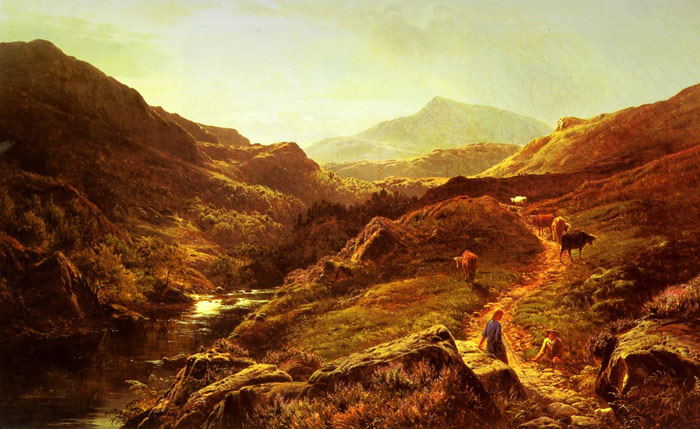 Moel Siabod from Glyn Lledr, with Figures and Cattle on a Riverside Path, 1867  Painting Reproductions