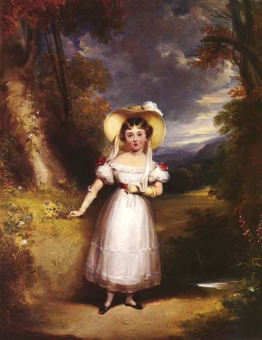 Princess Victoria, Aged Nine, In A Landscape  Painting Reproductions
