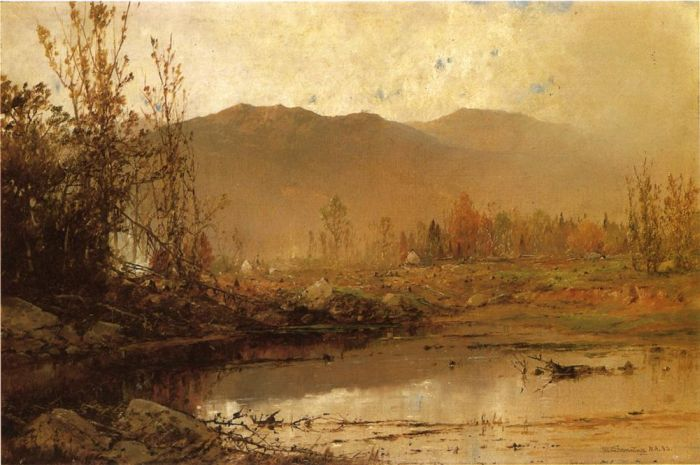 Mountain Lake in Autumn , 1883  Painting Reproductions