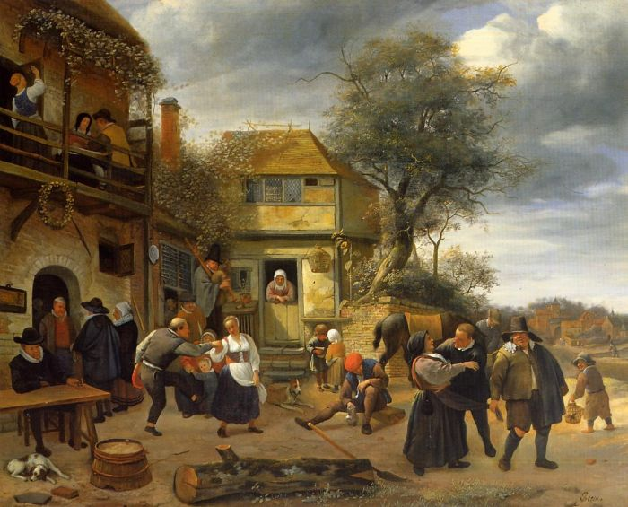 Peasants before an Inn, 1653  Painting Reproductions