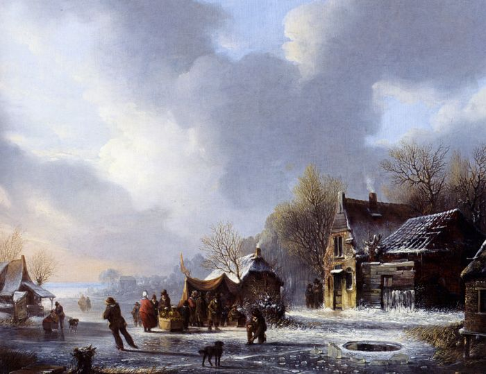 Skaters On A Frozen River Near A 'Koek En Zopie', 1843  Painting Reproductions
