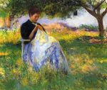 0 A Girl Sewing in an Orchard, 1891 Art Reproductions