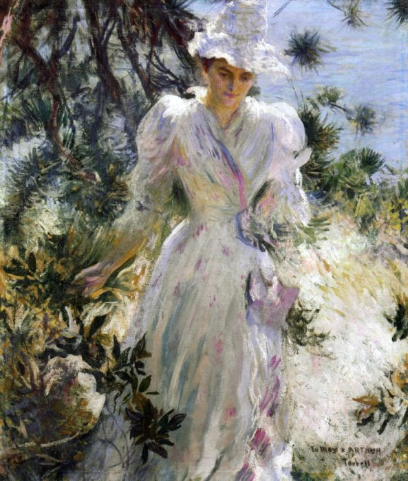 My Wife, Emeline, in a Garden, 1890  Painting Reproductions
