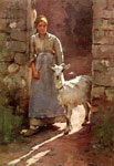 7213 Girl with Goat, 1886 Art Reproductions
