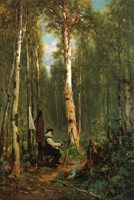 Artist at His Easel in the Woods  Painting Reproductions