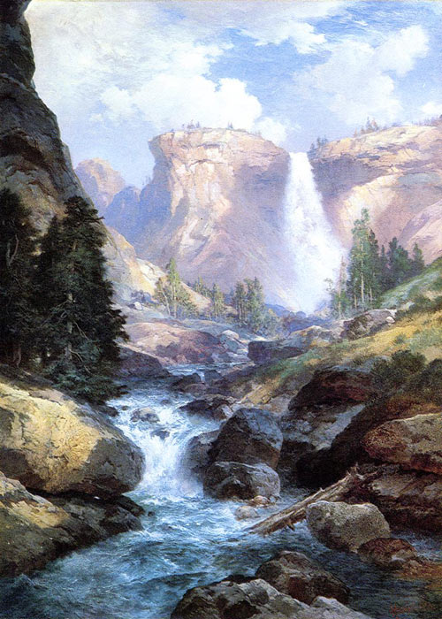 Waterfall in Yosemite, 1913 Moran, Thomas Painting Reproductions