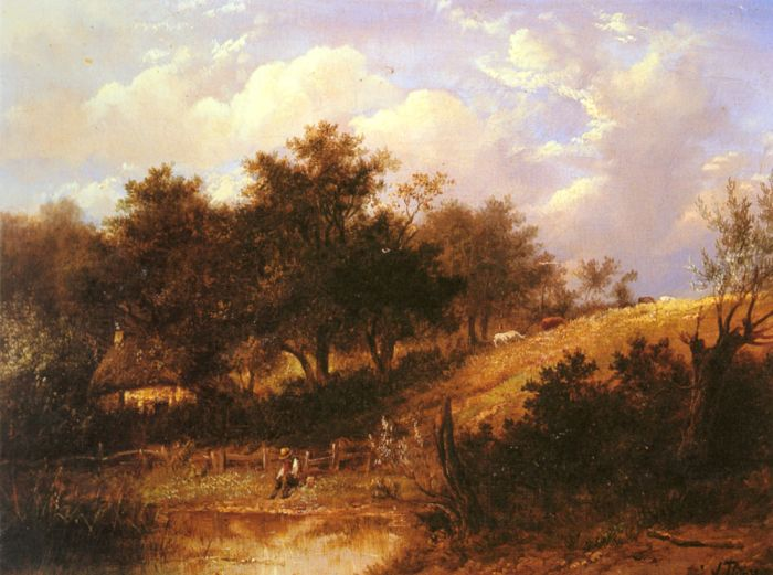 Landscape with figure resting beside a pond  Painting Reproductions