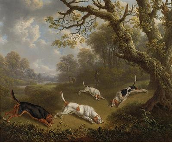 Sportsmen with dogs on the scent, 1823  Painting Reproductions