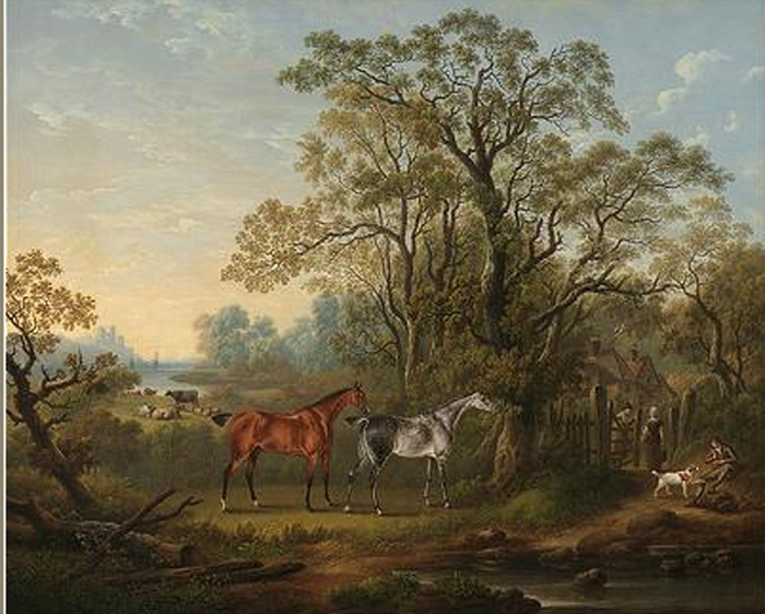 The favourite hunters of Mrs Robert Townley Parker of Cuerden Hall, Lancashire in a wooded coastal landscape , 1819  Painting Reproductions