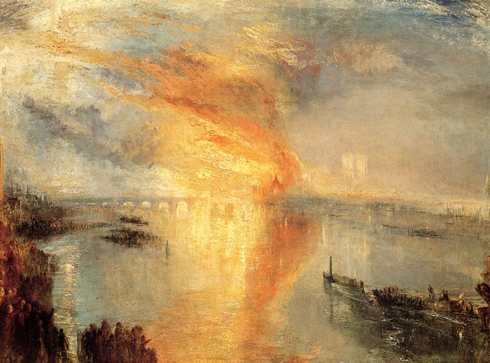 The Burning of the Houses of Parliament, 1834  Painting Reproductions