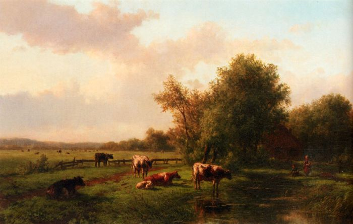 A Landscape With Cows On A Riverbank, A Farm Beyond  Painting Reproductions