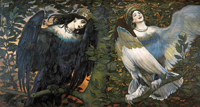 Sirin and Alconost. Song of Joy and Sorrow. 1896  Painting Reproductions