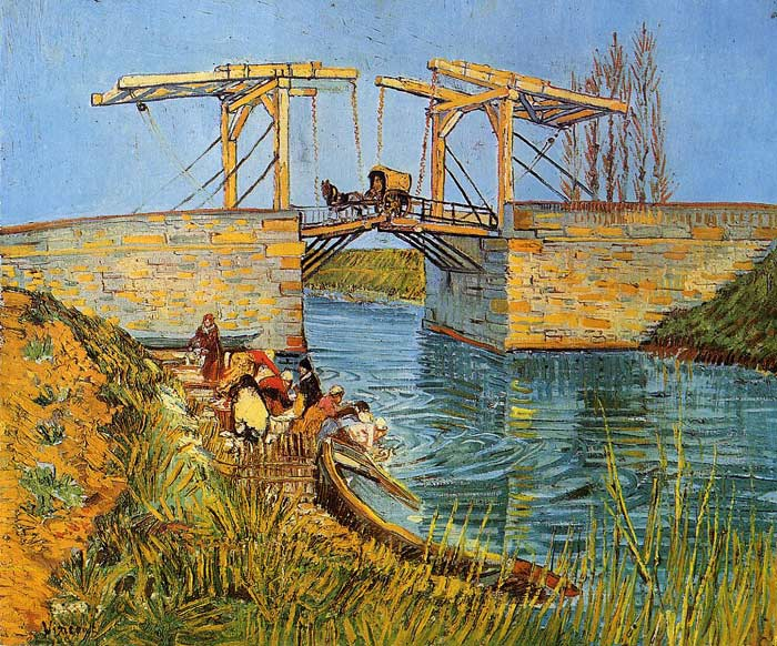 The Langlois Bridge at Arles with Women Washing, 1888 Vincent van Gogh Painting Reproductions