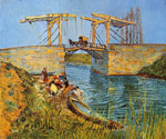 Vincent van Gogh The Langlois Bridge at Arles with Women Washing, 1888 Art Reproductions