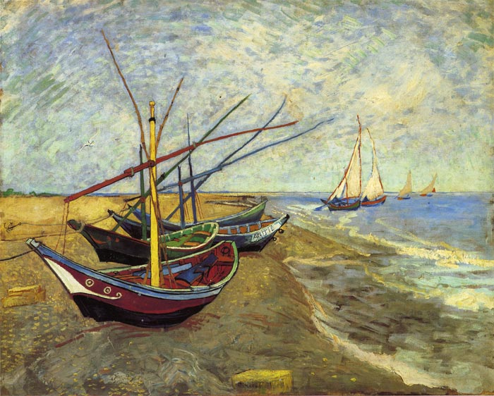 vincent van gogh oil painting fishing boats