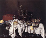 Reproductions Heda, Willem Claesz Still-Life with Pie, Silver Ewer and Crab, 1658