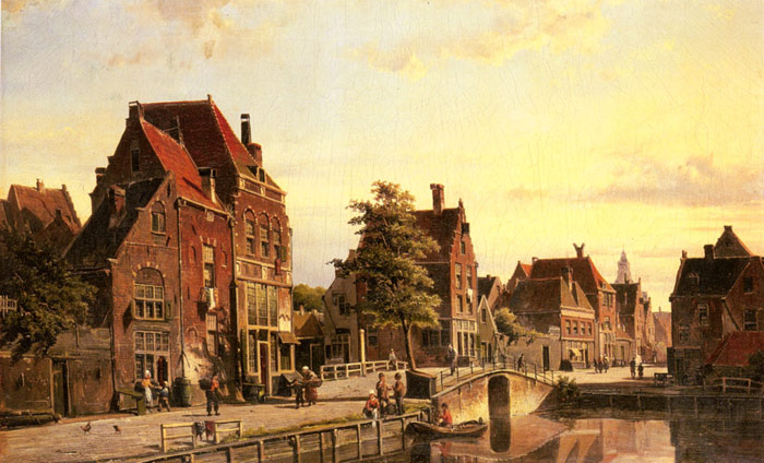 Figures by a Canal in a Dutch Town  Painting Reproductions