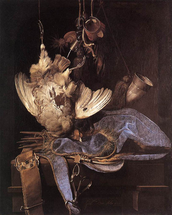 Still-Life with Hunting Equipment and Dead Birds, 1668  Painting Reproductions